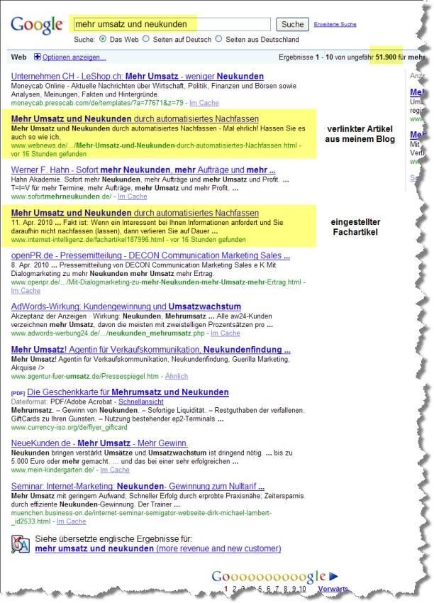 In 12 Stunden auf Seite 1 bei Google