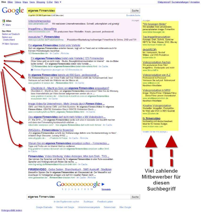 Google Positionierung für den Begriff eigenes Firmenvideo
