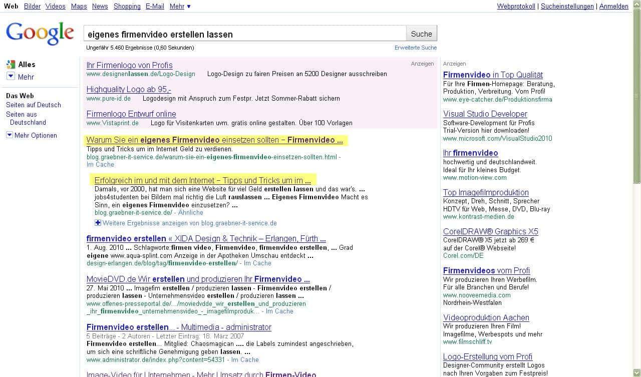 Google Positionierung für den Begriff eigenes Firmenvideo erstellen lassen