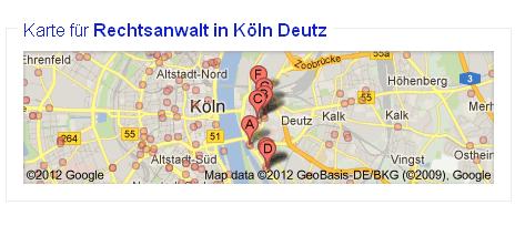 Karte zu Google Suchergebnis