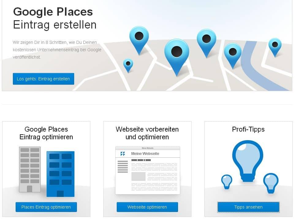 Anleitung Google Places von Sistrix