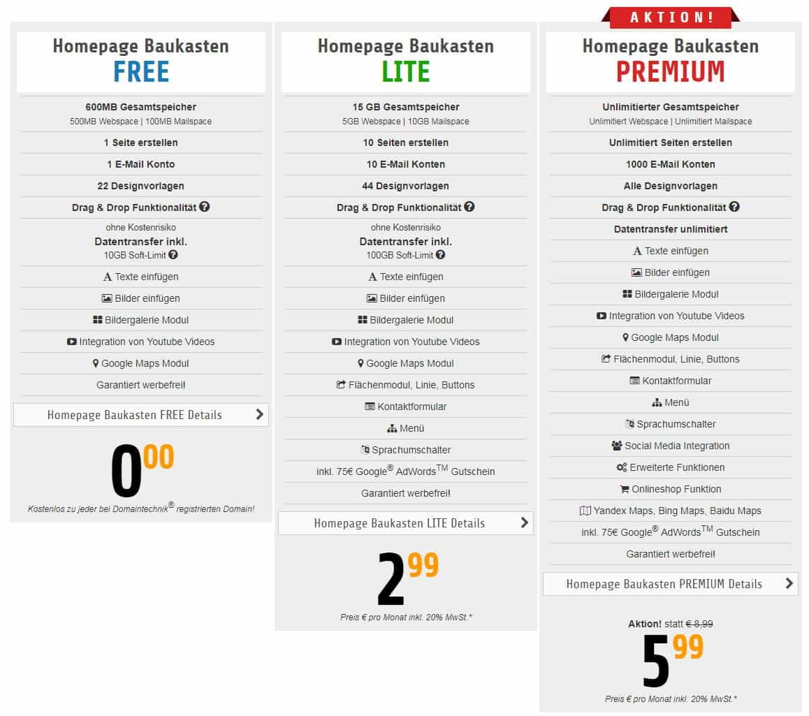 Übersicht über drei verschiedene Preis-Leistungs-Modelle